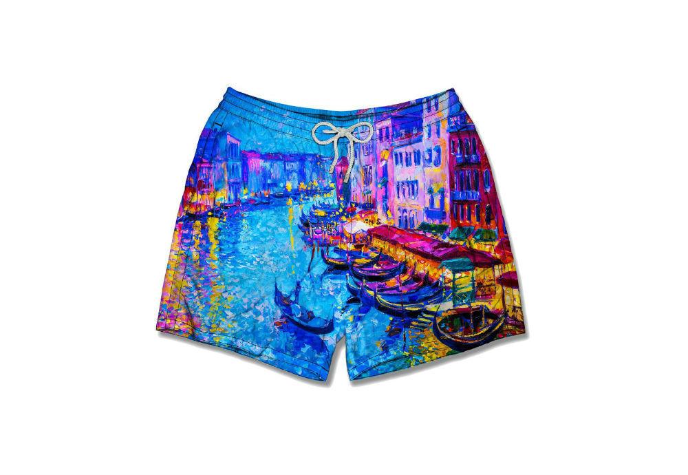 Italiaanse Zwembroek Heren.Swimshort Mooie Afschildering Van Canal Grande Venice Zwemeiland Nl